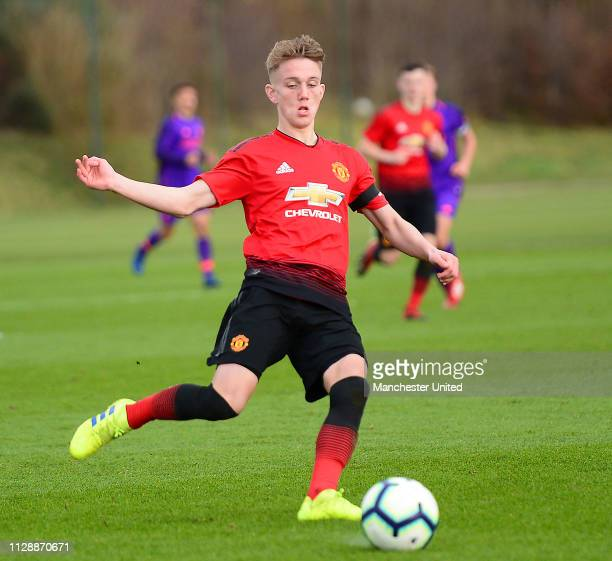 Ethan Galbraith of Manchester United U18s in action during the U18 Premier League North match between Manchester United U18s and Liverpool U18s at...