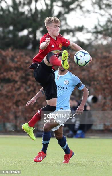 Ethan Galbraith of Manchester United U18s in action during the U18 Premier League Cup match between Manchester City U18s and Manchester United U18s...