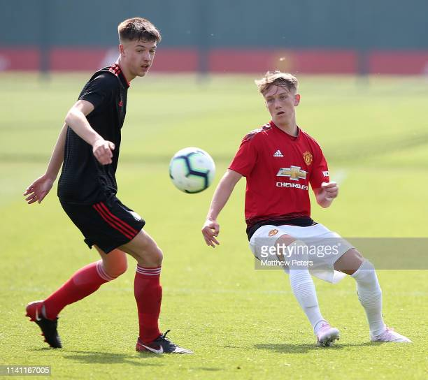 Ethan Galbraith of Manchester United U18s in action during the U18 Premier League match between Manchester United U18s and Sunderland U18s at Aon...