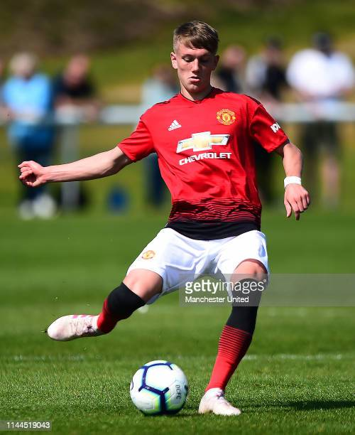 Ethan Galbraith of Manchester United U18s in action during the U18 Premier League match between Derby County U18s and Manchester United U18s on April...