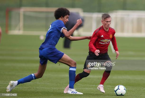 Ethan Galbraith of Manchester United U18s in action during the U18 Premier League match between Manchester United U18s and Everton U18s at Aon...