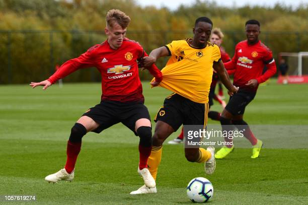 Ethan Galbraith of Manchester United U18s in action during the U19 Premier League North match between Manchester United U18s and Wolverhampton...