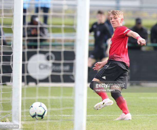Ethan Galbraith of Manchester United U18s scores their first goal during the U18 Premier League match between Manchester City U18s and Manchester...