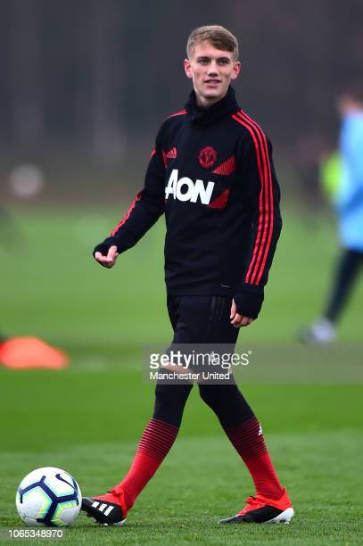 Ethan Galbraith of Manchester United U18s warms up ahead of the U18 Premier League North match between Manchester United U18s and Manchester City...