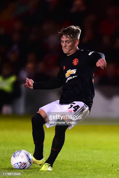 Ethan Galbraith of Manchester United U21s in action during the Leasingcom Cup match between Lincoln City and Manchester United U21s at Sincil Bank...