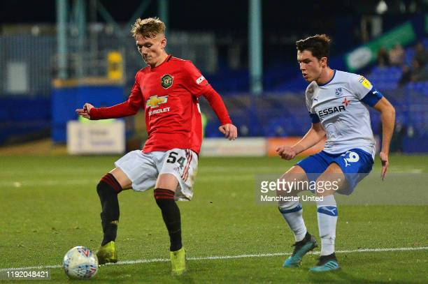 Ethan Galbraith of Manchester United U21s in action during the EFL Trophy match between Tranmere Rovers and Manchester United U21s at Prenton Park on...