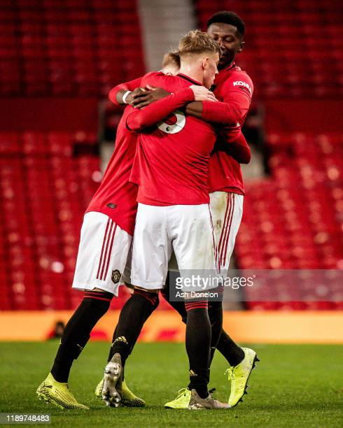 Ethan Galbraith of Manchester United U23s celebrates scoring their second goal during the U23 Premier League 2 match between Manchester United U23s...