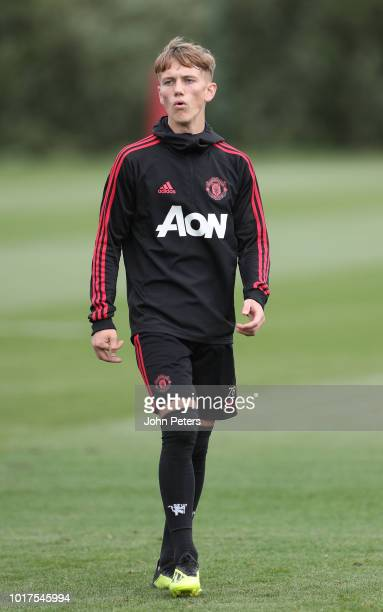 Ethan Galbraith of Manchester United U23s in action during an U23s training session at Aon Training Complex on August 15 2018 in Manchester England