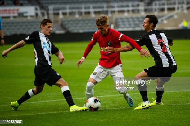 Ethan Galbraith of Manchester United U23s in action during the Premier League 2 match between Newcastle United U23s and Manchester United U23s at St...