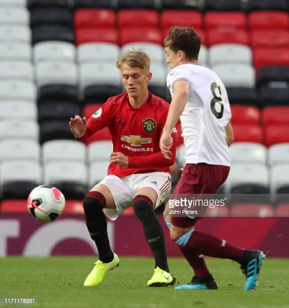 Ethan Galbraith of Manchester United U23s in action during the Premier League 2 match between Manchester United U23s and West Ham United U23s at Old...