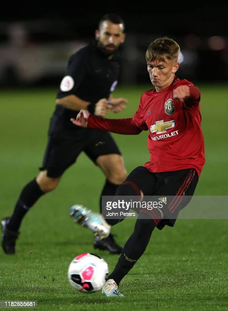 Ethan Galbraith of Manchester United U23s in action during the Premier League 2 match between Swansea City U23s and Manchester United U23s at Landore...