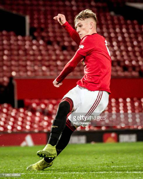 Ethan Galbraith of Manchester United U23s in action during the U23 Premier League 2 match between Manchester United U23s and Sunderland U23s at Old...