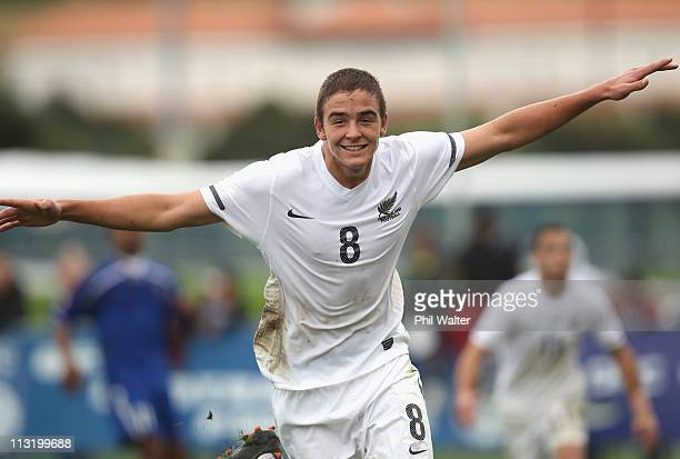 Ethan Galbraith of New Zealand celebrates his goal during the Oceania Under 20 Tournament semi final match between New Zealand and Fiji at North...