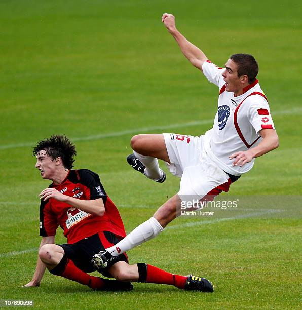 Ethan Galbraith of Waitakere and Alex Risdale of Canterbury contest possession during the ASB Youth League Final match between Canterbury United and...