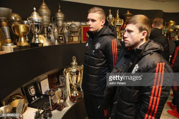 Ethan Hamilton and Jake Kenyon of Manchester United U19s visit the Partizan Belgrade museum in memory of the victims of the Munich Air Disaster on...