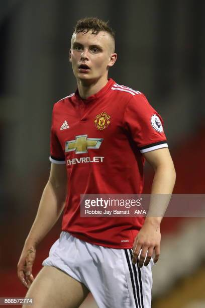 Ethan Hamilton of Manchester United during the Premier League 2 fixture between Manchester United and Liverpool at Leigh Sports Village on October 23...