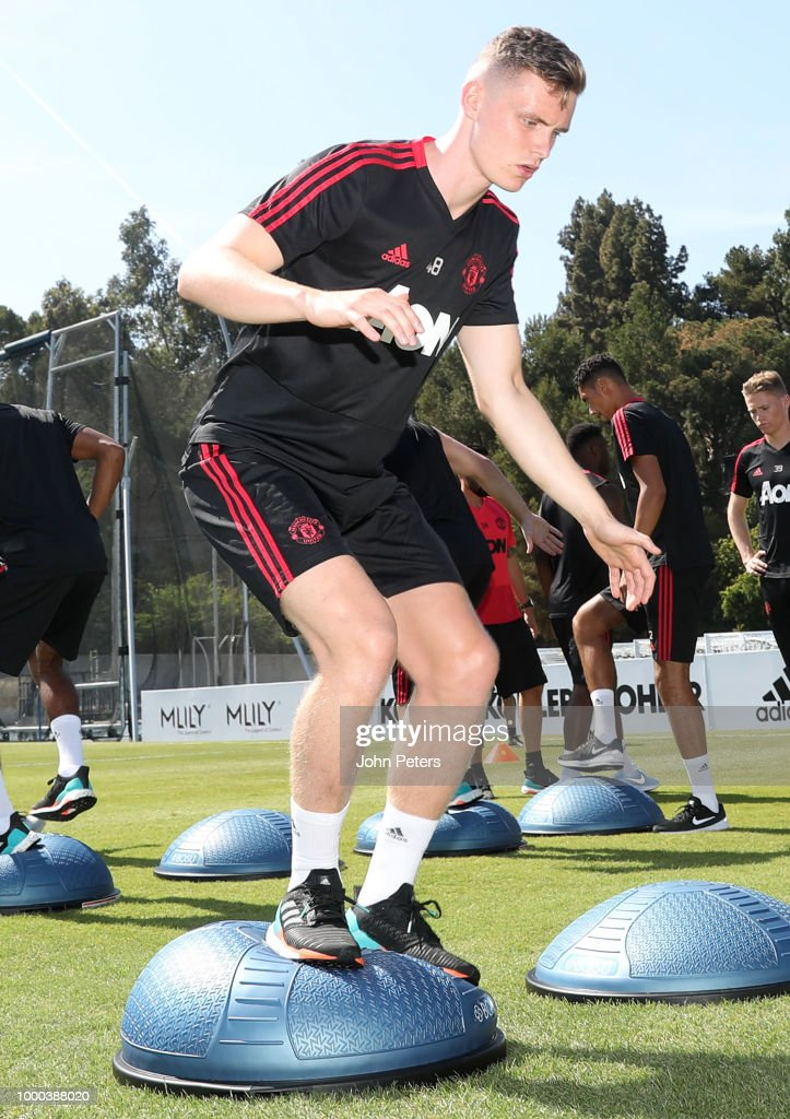 Ethan Hamilton of Manchester United in action during a Manchester United pre-season training session at UCLA on July 16, 2018 in Los Angeles, California.