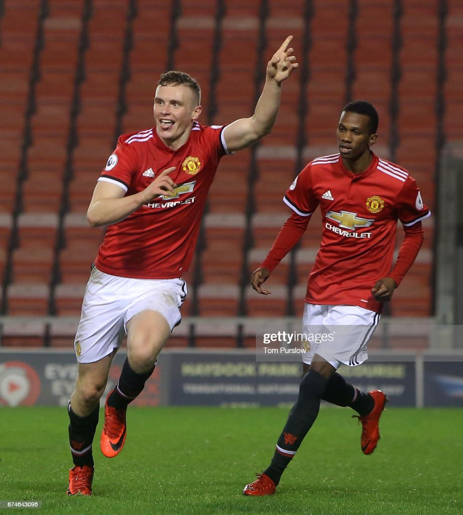 Ethan Hamilton of Manchester United U23s celebrates scoring their second goal during the Premier League International Cup match between Manchester United U23s and Athletic Bilbao U23s at Leigh Sports Village on November 15, 2017 in Leigh, Greater Manchester.
