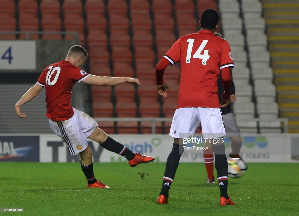 Ethan Hamilton of Manchester United U23s scores their second goal during the Premier League International Cup match between Manchester United U23s and Athletic Bilbao U23s at Leigh Sports Village on November 15, 2017 in Leigh, Greater Manchester.