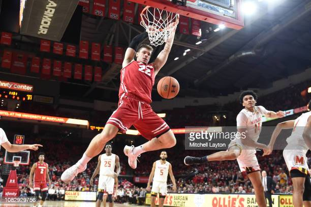 Ethan Happ of the Wisconsin Badgers dunks the ball during a college basketball game against the Maryland Terrapins at the XFinity Center on January...