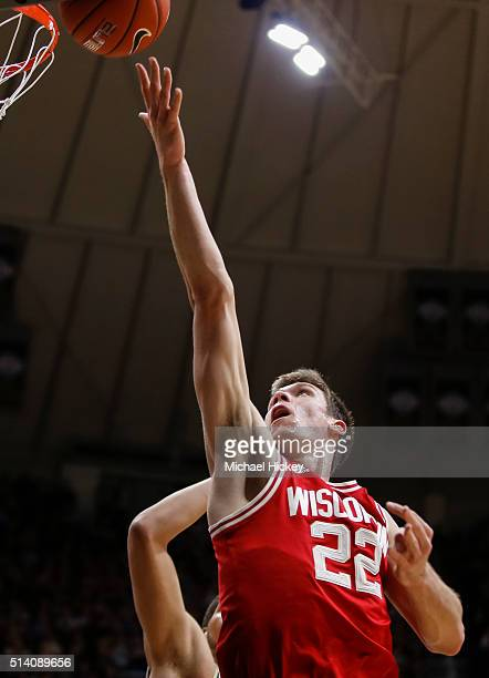 Ethan Happ of the Wisconsin Badgers shoots the ball against the Purdue Boilermakers at Mackey Arena on March 6 2016 in West Lafayette Indiana