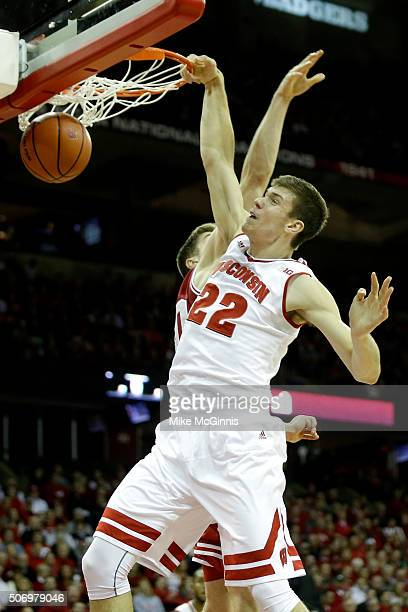 Ethan Happ of the Wisconsin Badgers with the onehanded slam dunk during the first half against the Indiana Hoosiers at Kohl Center on January 26 2016...