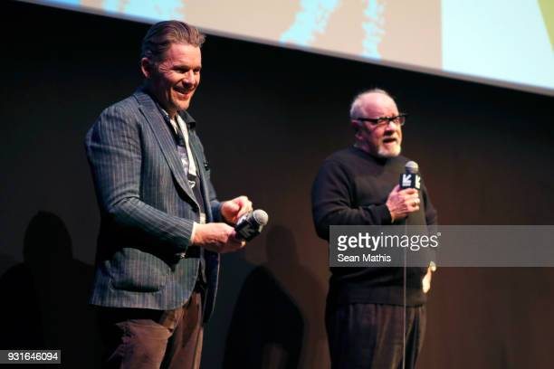 Ethan Hawk and Paul Schrader speak onstage at the premiere of 'First Reformed' during SXSW at Elysium on March 13 2018 in Austin Texas