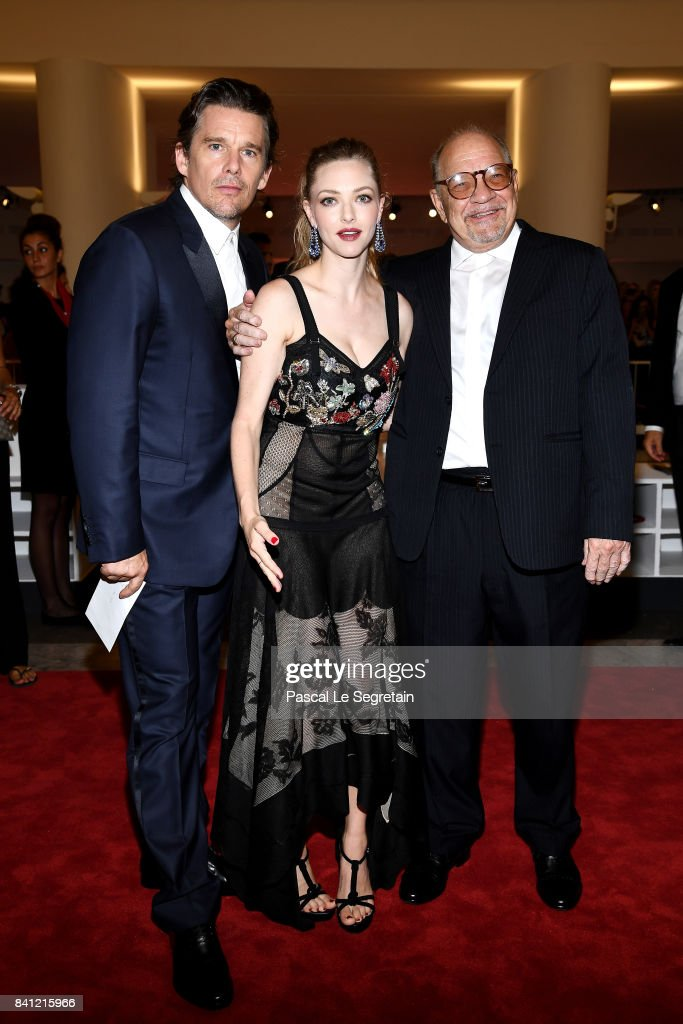 Ethan Hawke, Amanda Seyfried and Paul Schrader walk the red carpet ahead of the 'First Reformed' screening during the 74th Venice Film Festival at Sala Grande on August 31, 2017 in Venice, Italy.