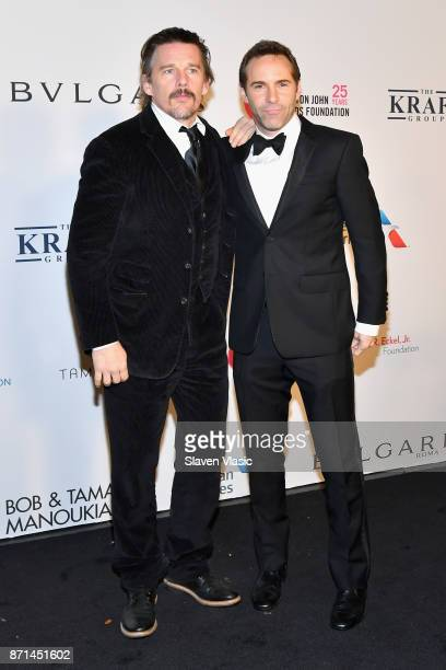 Ethan Hawke and Alessandro Nivola attend the Elton John AIDS Foundation's Annual Fall Gala with Cocktails By Clase Azul Tequila at Cathedral of St...