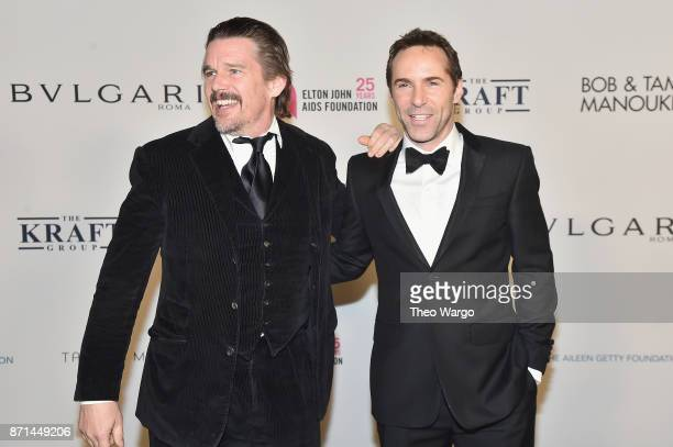 Ethan Hawke and Alessandro Nivola attend the Elton John AIDS Foundation Commemorates Its 25th Year And Honors Founder Sir Elton John During New York...