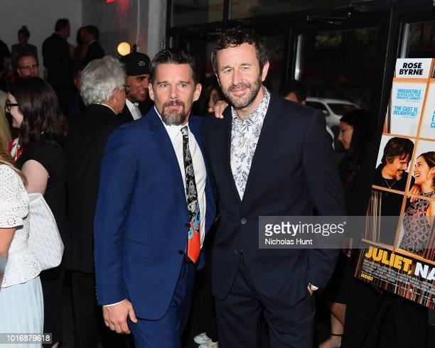 Ethan Hawke and Chris O'Dowd attend the Juliet Naked New York Premiere at Metrograph on August 14 2018 in New York City