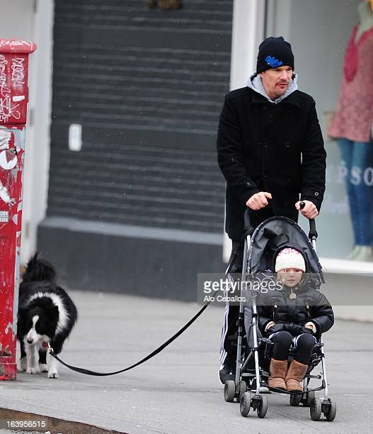 Ethan Hawke and Clementine Jane Hawke are seen in the Meat Packing District on March 18 2013 in New York City