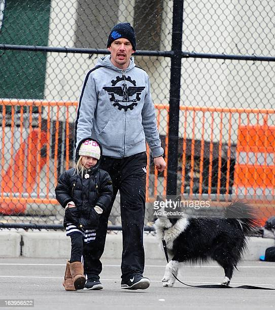 Ethan Hawke and Clementine Jane Hawke are seen in the Meat Packing District on March 18, 2013 in New York City.