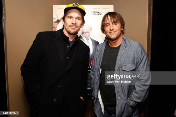 Ethan Hawke and director Richard Linklater attend the Bernie premiere after party at the Lilium on April 23 2012 in New York City