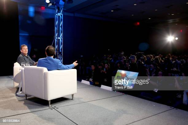 Ethan Hawke and Eric Kohn speak onstage during SXSW at Austin Convention Center on March 13 2018 in Austin Texas