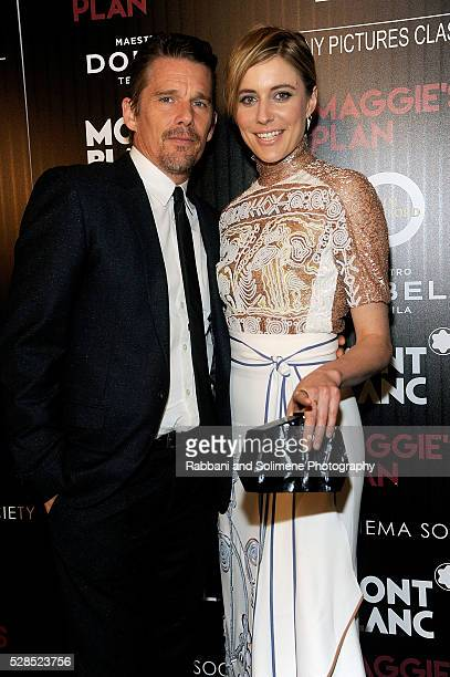 Ethan Hawke and Greta Gerwig attend Montblanc And The Cinema Society With Mastro Dobel Kim Crawford Wines Hos