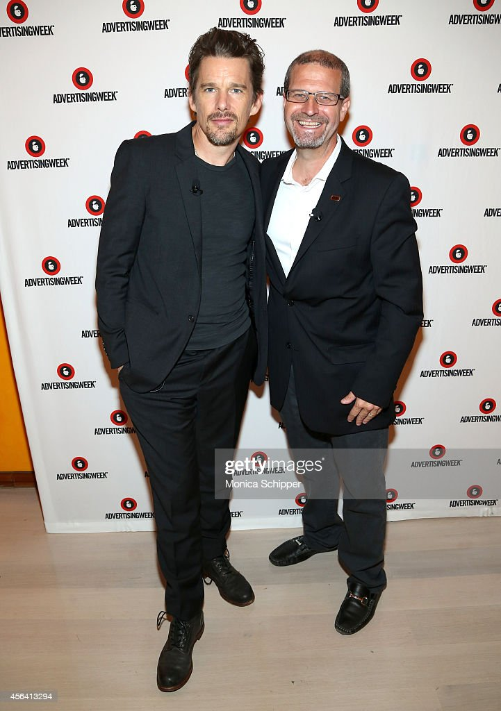 Ethan Hawke (L) and Keith Simanton attend the Live Taping of IMDB What To Watch w/Ethan Hawke during AWXI on September 30, 2014 in New York City.
