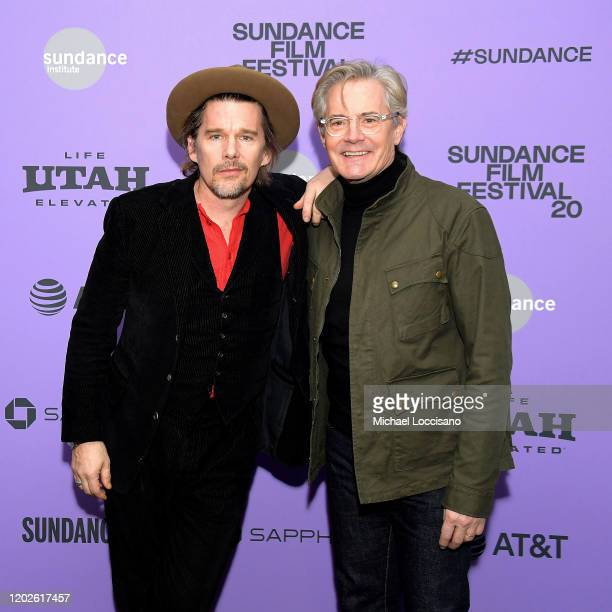 """Ethan Hawke and Kyle MacLachlan attend the 2020 Sundance Film Festival - """"Tesla"""" Premiere at Library Center Theater on January 27, 2020 in Park City,..."""