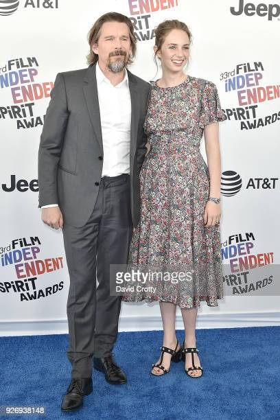 Ethan Hawke and Maya Hawke attend the 2018 Film Independent Spirit Awards Arrivals on March 3 2018 in Santa Monica California