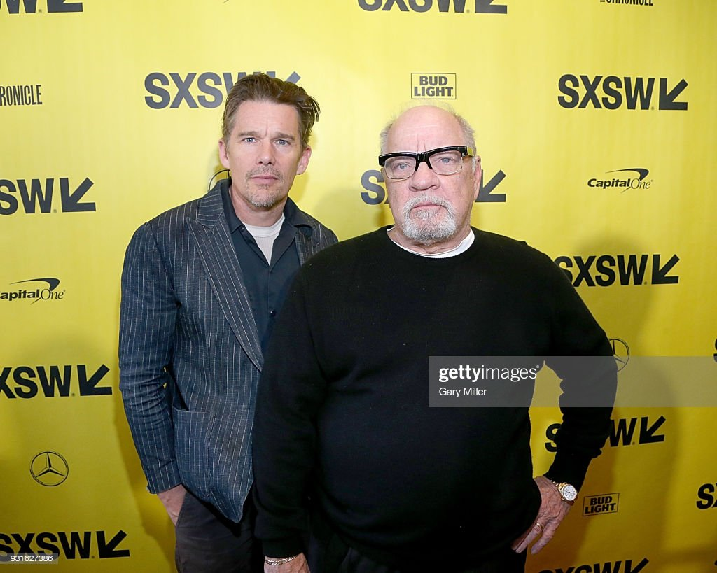 Ethan Hawke (L) and Paul Schrader attend the premiere of the new film 'First Reformed' at the Stateside Theatre during South By Southwest on March 13, 2018 in Austin, Texas.