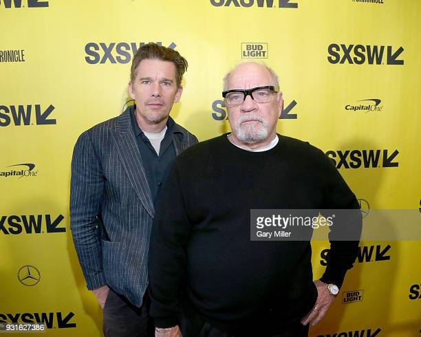 Ethan Hawke and Paul Schrader attend the premiere of the new film 'First Reformed' at the Stateside Theatre during South By Southwest on March 13...