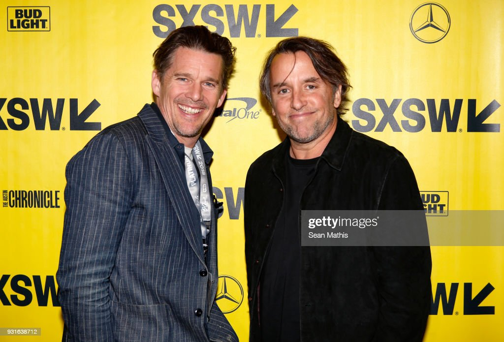 Ethan Hawke (L) and Richard Linklater attend the premiere of 'First Reformed' during SXSW at Elysium on March 13, 2018 in Austin, Texas.