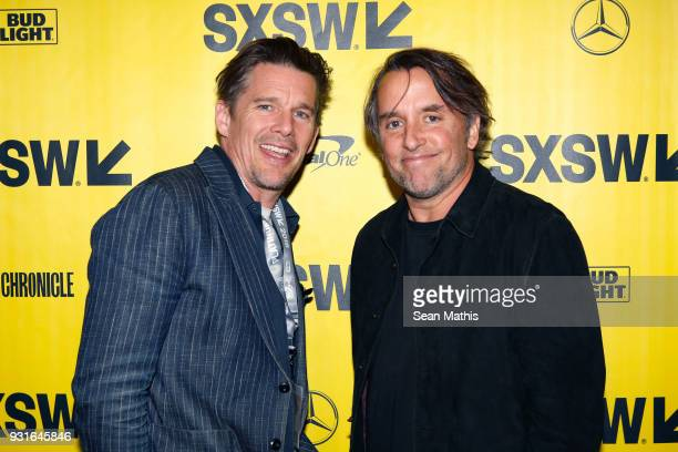 Ethan Hawke and Richard Linklater attend the premiere of 'First Reformed' during SXSW at Elysium on March 13 2018 in Austin Texas