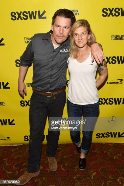 Ethan Hawke and Ryan Hawke attend the Blaze Premiere 2018 SXSW Conference and Festivals at Paramount Theatre on March 16 2018 in Austin Texas