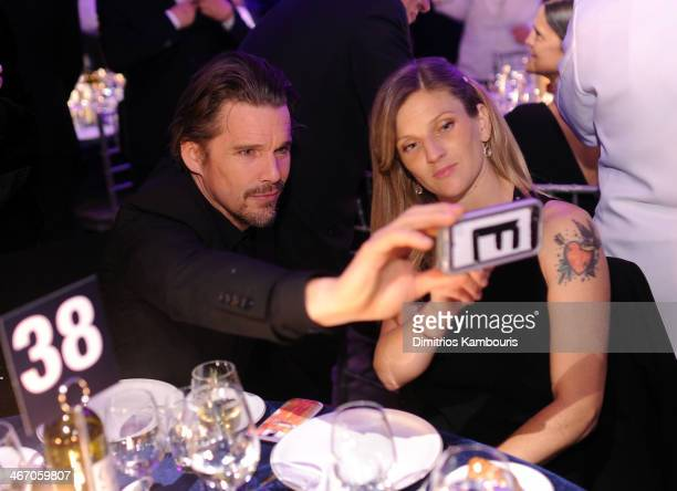 Ethan Hawke and Ryan Shawhughes attens the 2014 amfAR New York Gala at Cipriani Wall Street on February 5 2014 in New York City