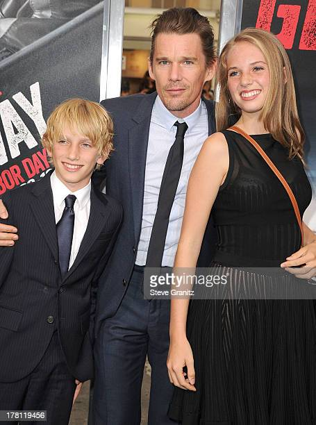 Ethan Hawke and son Roan ThurmanHawke and sister Maya ThurmanHawke arrives at the Getaway Los Angeles Premiere at Regency Village Theatre on August...
