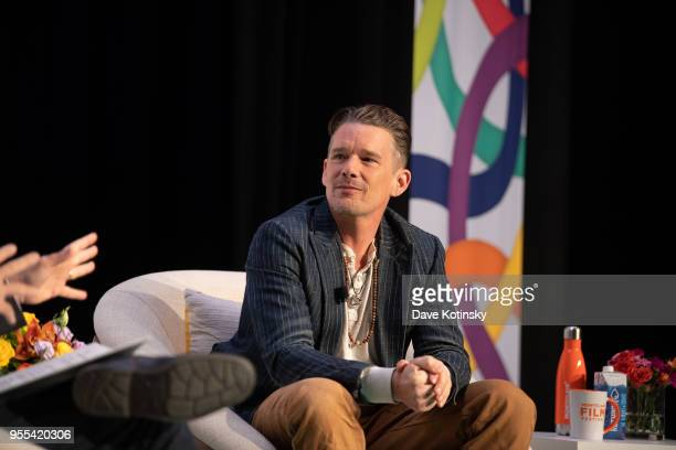 Ethan Hawke and Stephen Colbert speak at the Montclair Film Festival on May 6 2018 in Montclair NJ