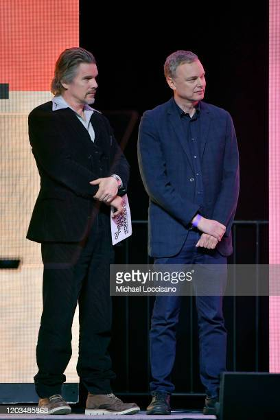 Ethan Hawke and Wash Westmoreland speak onstage during the 2020 Sundance Film Festival Awards Night Ceremony at Basin Recreation Field House on...