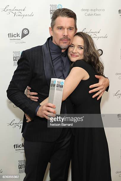 Ethan Hawke and Winona Ryder pose backstage during IFP's 26th Annual Gotham Independent Film Awards at Cipriani Wall Street on November 28 2016 in...