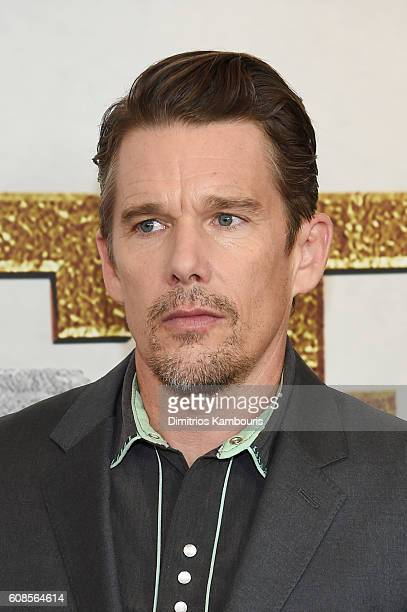 Ethan Hawke attends The Magnificent Seven premiere at Museum of Modern Art on September 19 2016 in New York City